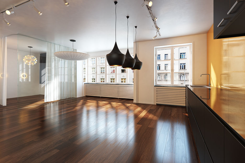 Empty interior residence with hardwood floors in the city